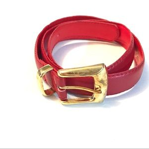 Vintage 80's Red Belt with Gold Buckle